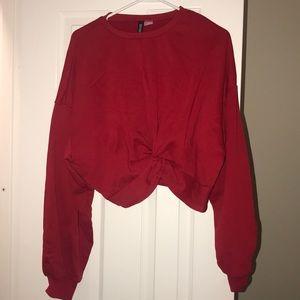 Red cropped sweatshirt